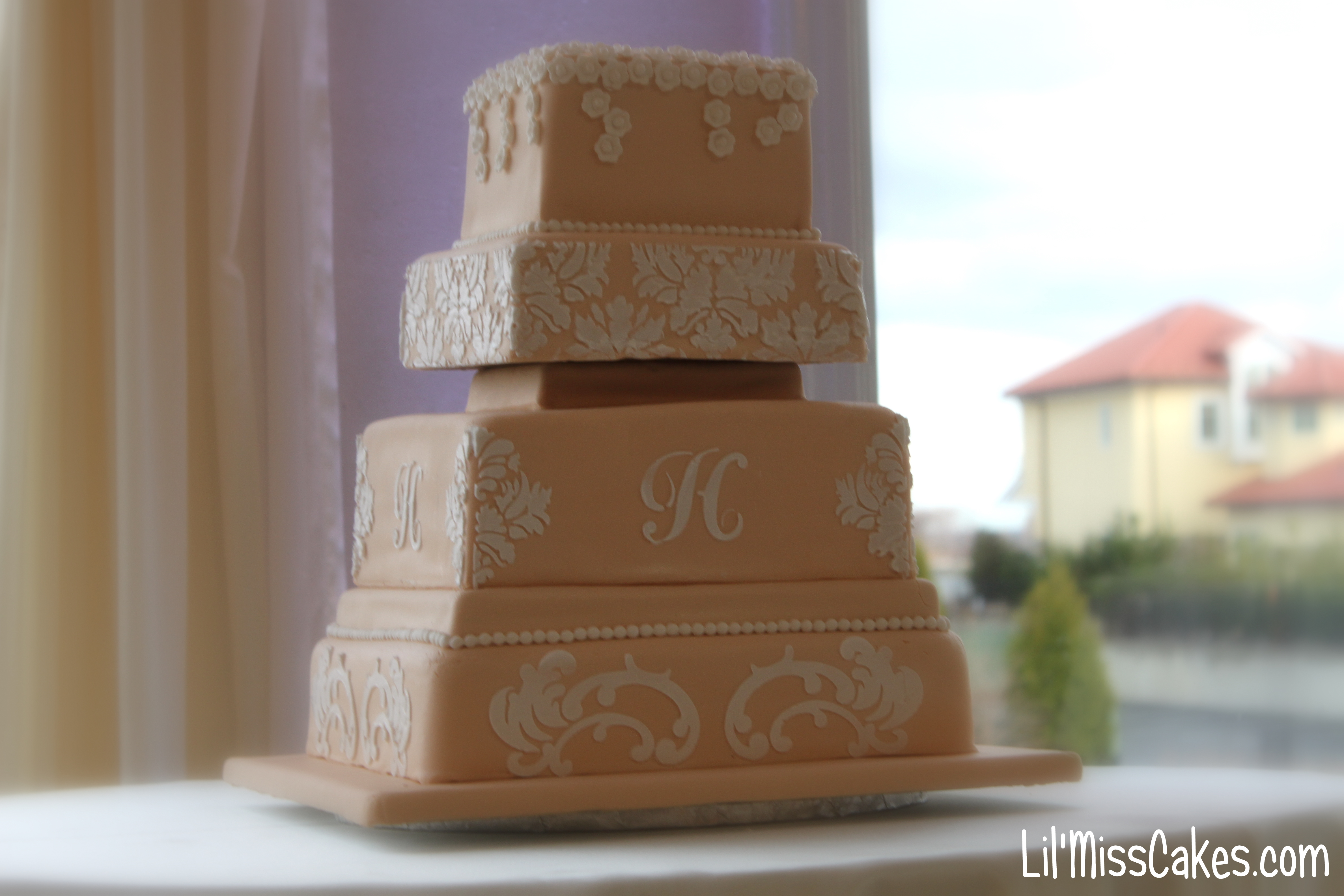Stencil Wedding Cake Lil 39 Miss Cakes