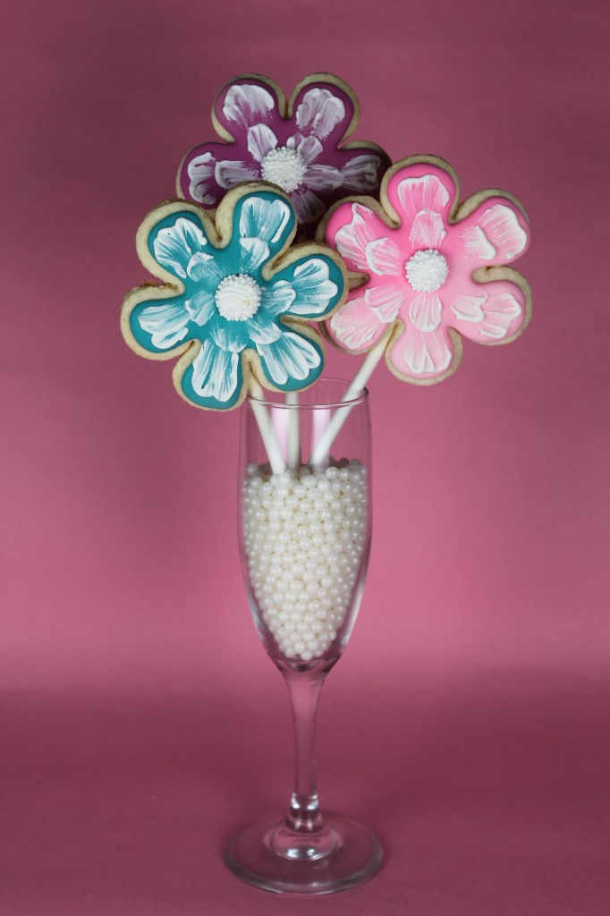 Brush Embroidery Flower Cookie Bouquet
