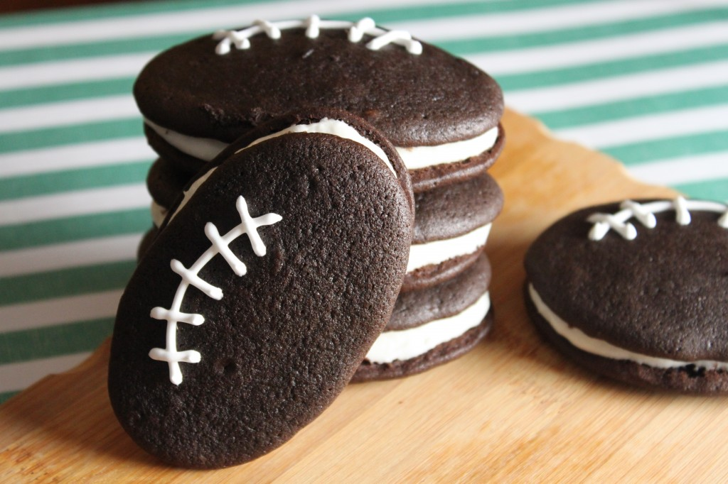Stack of Football Whoopie Pies