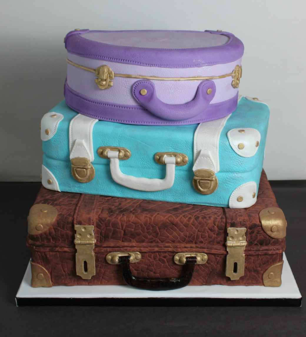 stacked luggage wedding cake lil 39 miss cakes. Black Bedroom Furniture Sets. Home Design Ideas