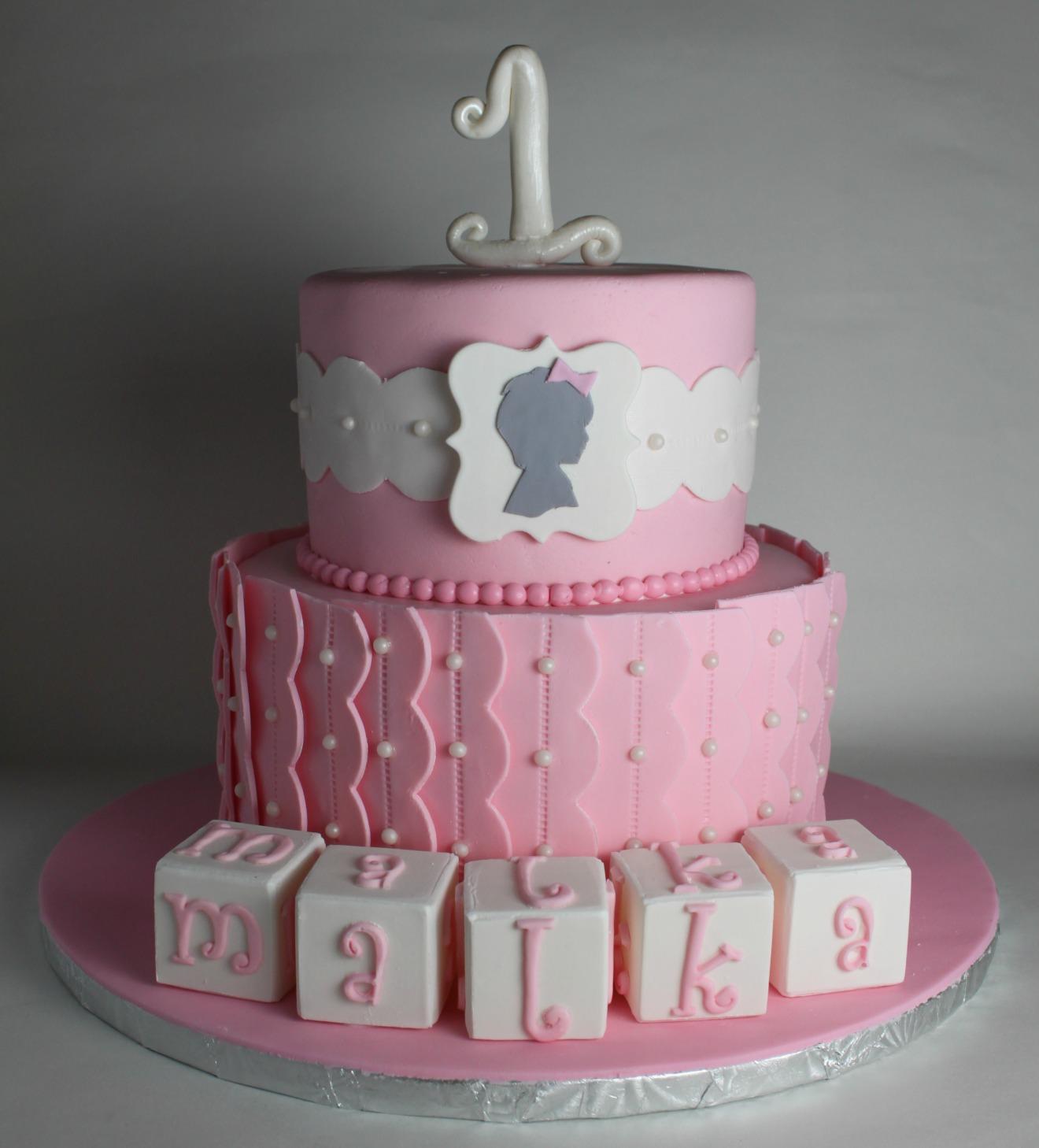 Silhouette First Birthday Cake