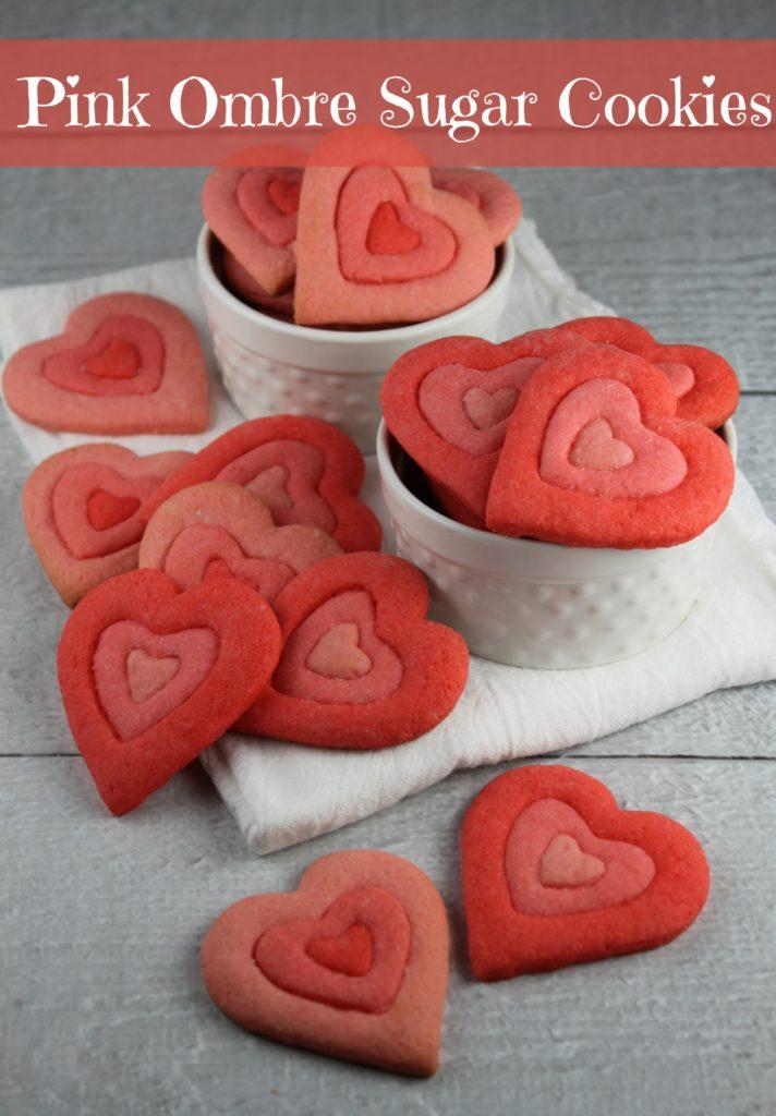 Pink Ombre Heart Sugar Cookies