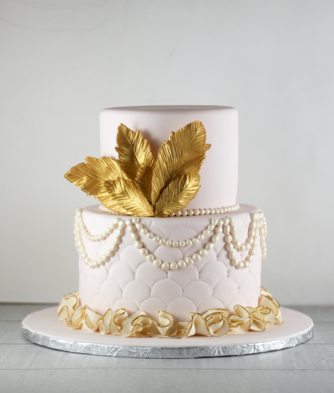 Pink and Gold Feather Cake