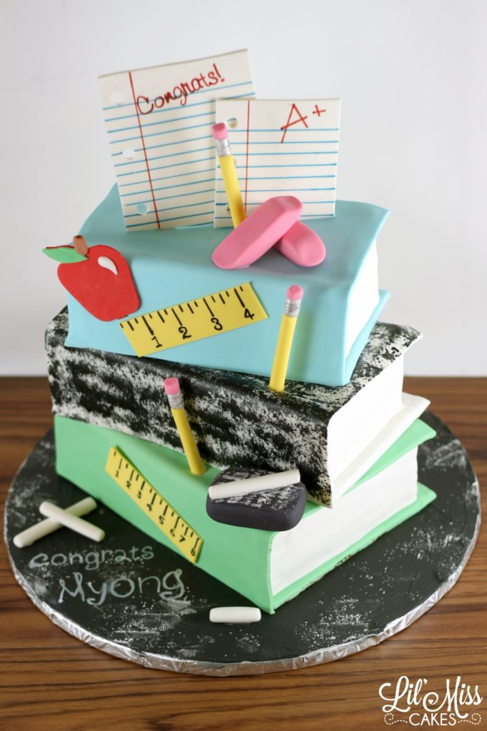 Stacked Book Teachers Retirement Cake Lil Miss Cakes
